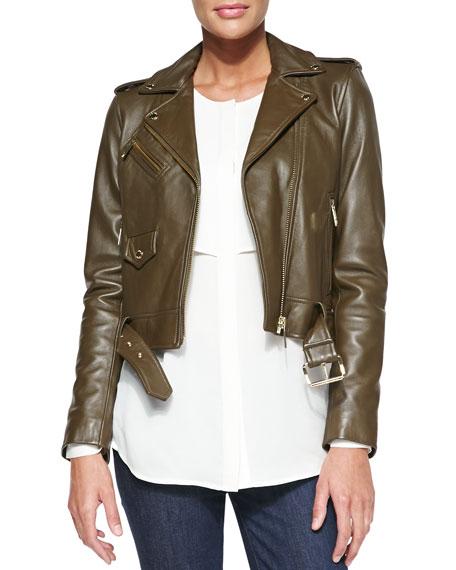 6a32227b7de4f4 MICHAEL Michael Kors Cropped Leather Moto Jacket