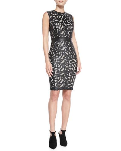 Sleeveless Laser-Cut Leather Dress