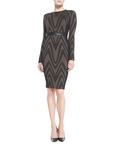 Long-Sleeve Abstract Pattern Sheath Dress