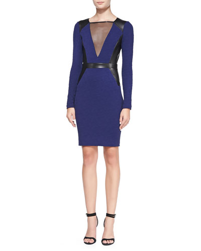 Long-Sleeve Textured Knit Dress with Leather Panels