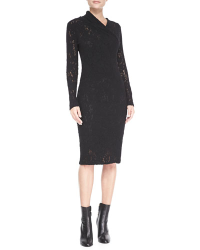 Long-Sleeve Pulled-Neck Lace Sheath Dress