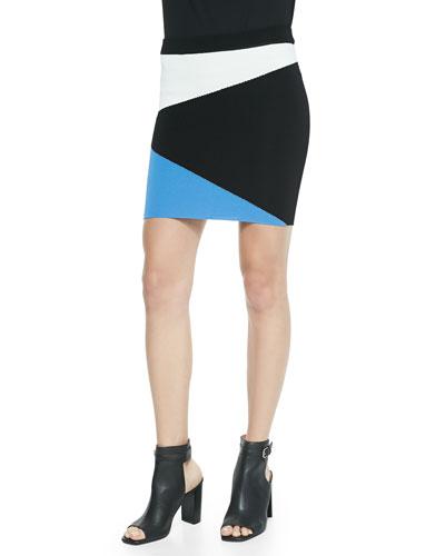 Mali Asymmetric Colorblock Mini Skirt, Blue/White/Black