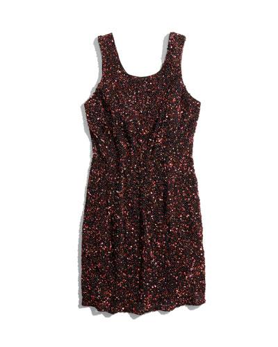 Kenzie Allover Beaded Sheath Dress, Copper