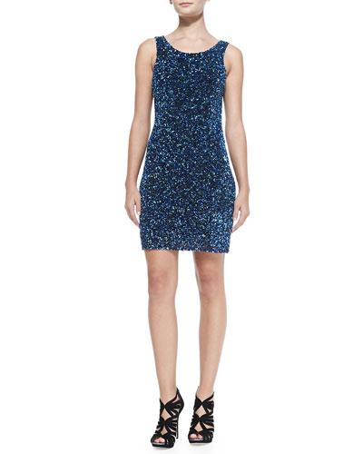 Kenzie Beaded Scoop-Back Dress, Ultramarine