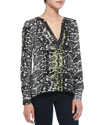 Daniela Snake-Print Leather-Trim Top, Black Snake Lace