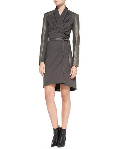 Leather-Trim Wrap Dress, Gray