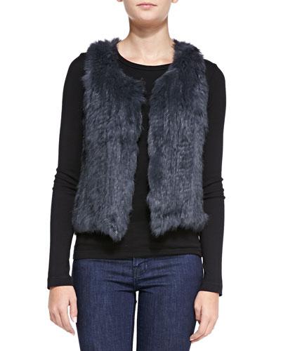 Sleeveless Short Fur Vest, Light Gray