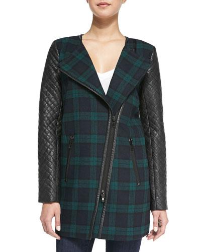 Sadie Plaid & Faux-Leather Coat, Green/Black