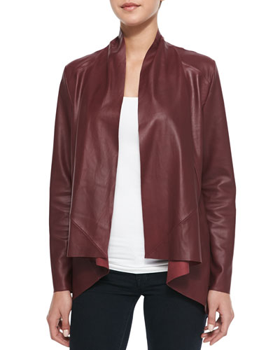 Drape-Front Leather Jacket, Wine