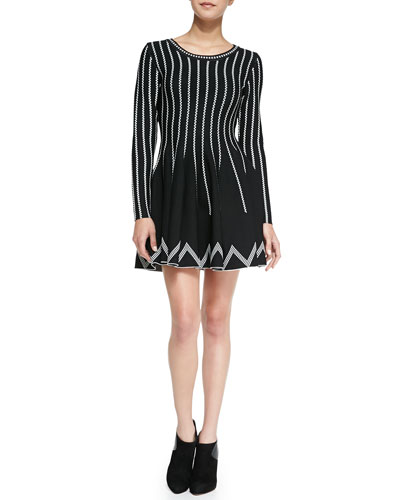 Dot-Striped Fit-And-Flare Dress, Black/White