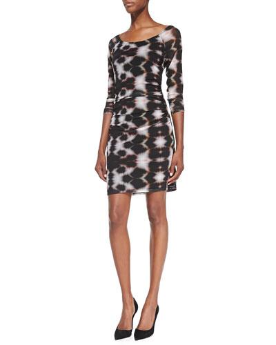 Zane Ink Blot-Print Ruched Dress