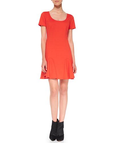 Faith Ponte Flounce Dress, Poppy
