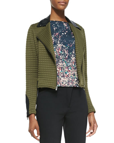 Bee Quilted-Knit Jacket with Faux-Leather Detail