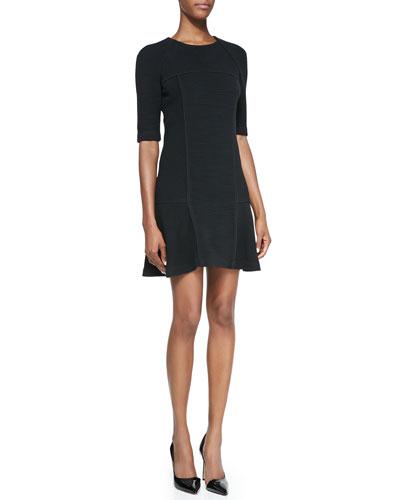 Half-Sleeve Flounce Dress