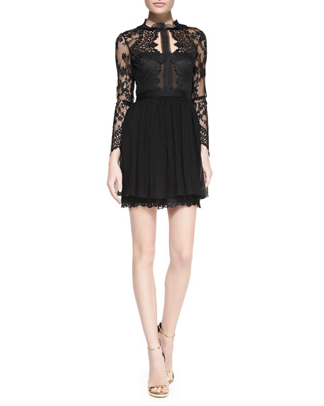 c7b2953eb04 Notte by Marchesa Long-Sleeve Lace Illusion Cocktail Dress