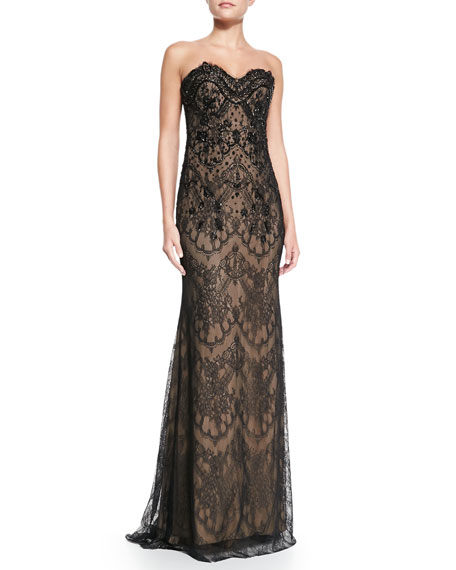 embroidered lace gown - Black Marchesa Cheap Sale New Best Seller For Sale Fake Online Cheap Sale Popular fGRALDI5
