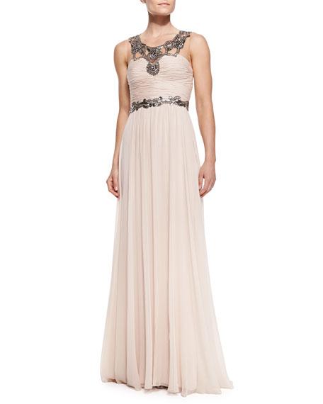 aab48a61 Notte by Marchesa Sleeveless Chiffon Beaded-Neck/Waist Gown