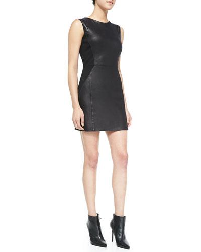 Leo Sleeveless Faux-Leather Dress