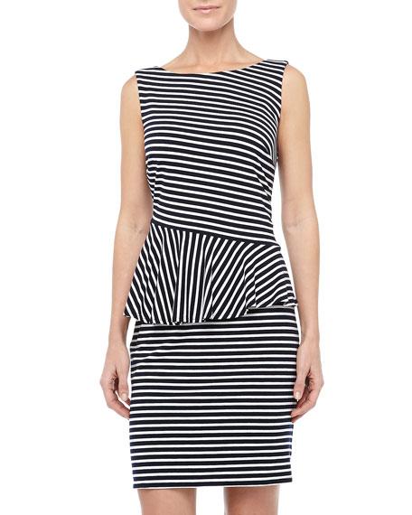 fb0c72030e3 Laundry by Shelli Segal Striped Asymmetric-Peplum Dress, Optic White/Black