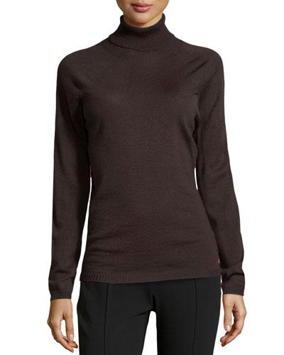 Sapia Lightweight Wool Turtleneck Sweater, Dark Brown