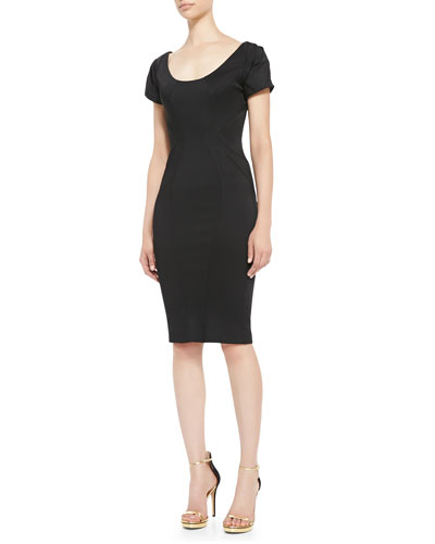 Short-Sleeve Scoop-Neck Cocktail Sheath Dress