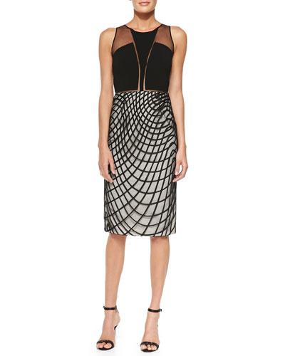 Khloe Cocktail Sheath Dress w/ Wavy Diamond Skirt
