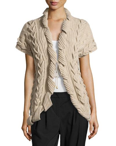 Sulmani Chunky Knit Vest, Light Beige