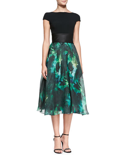 Cap-Sleeve Floral-Skirt Cocktail Dress