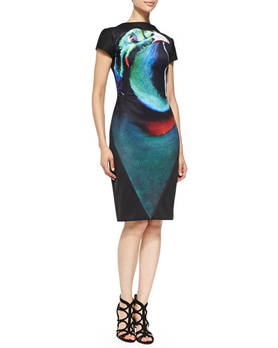 Short-Sleeve Bird-of-Paradise Cocktail Dress