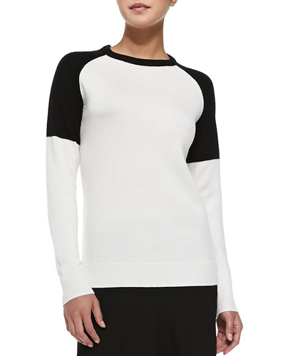 Colorblock Embellished-Collar Sweater