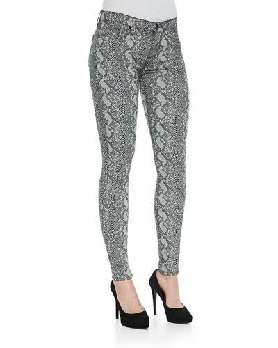 Nico Python-Print Skinny Jeans, Sepia Serpent