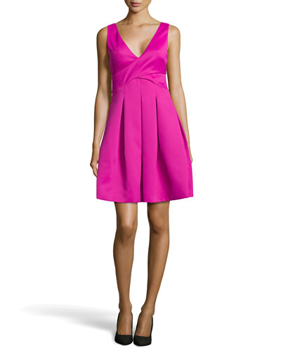 Double-Face Satin Fit-and-Flare Dress