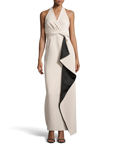 Folded-Front Halter Gown, Champagne/Black