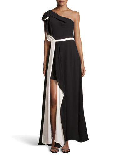 One-Shoulder Ruffled Evening Dress, Black/Cream