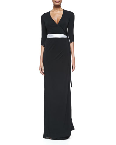 3/4-Sleeve Long Wrap Dress