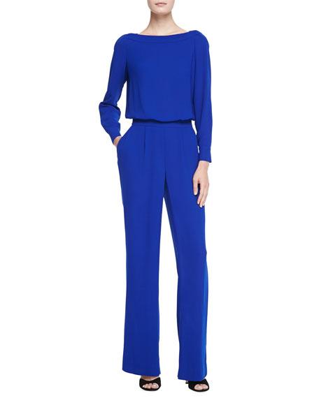 4705e1e454b Diane von Furstenberg Long-Sleeve Blouson-Top Jumpsuit