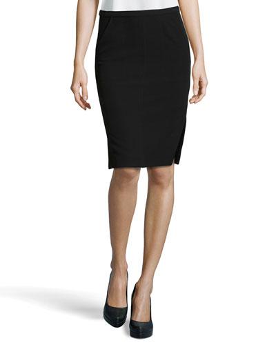 Side-Slit Pencil Skirt, Black