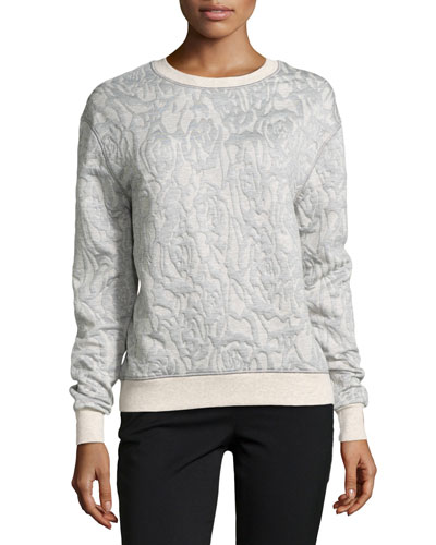 Long-Sleeve Pattern Knit Sweater, Camel/Gray