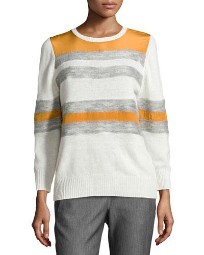 Mixed Stripe Crewneck Combo Sweater, Chalk/Heather Gray/Burnt Orange