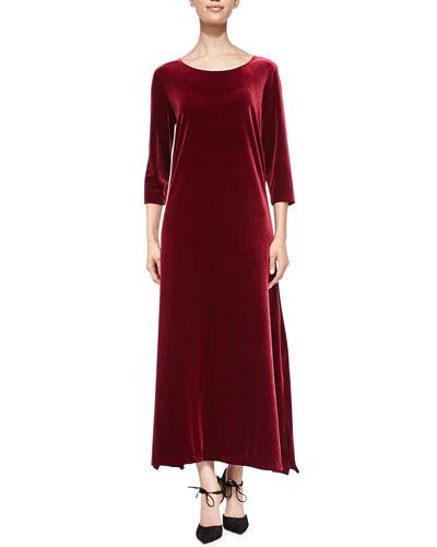 3/4-Sleeve Velour Long Dress, Women's