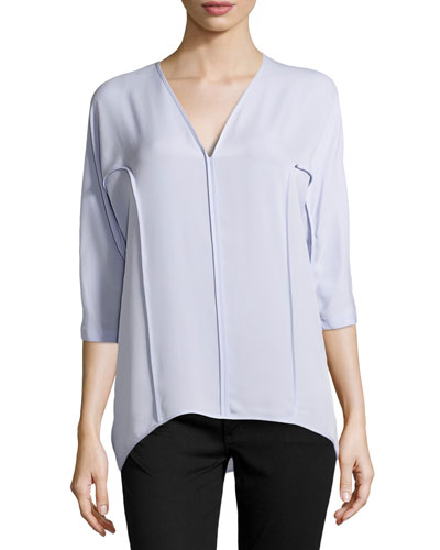 Dolman-Sleeve Silk Top, Frosted Lilac