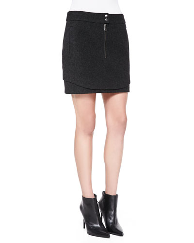 Bonded Wool Double-Hem Miniskirt