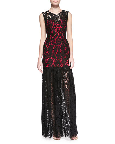 Annika Sleeveless Lace Overlay Gown