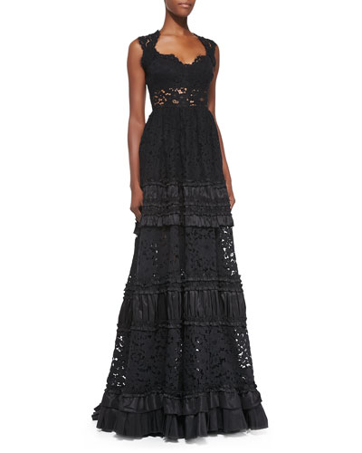 Gizele Tiered Ruffled Lace Gown