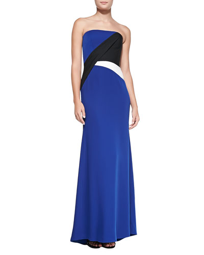 Audriana Strapless Colorblock Satin Gown
