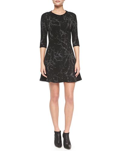 Rory Printed Flare-Skirt Sweaterdress