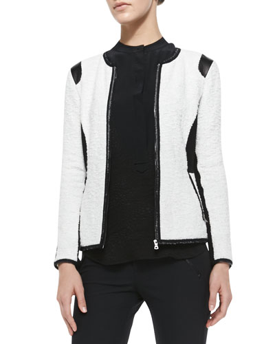 Textured Knit Fitted Jacket