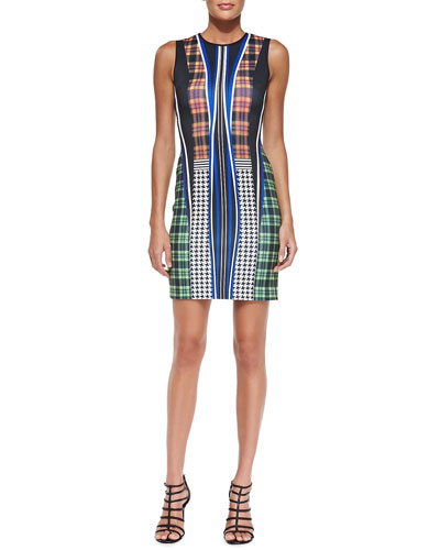Dublin Mixed-Print Fitted Sleeveless Dress
