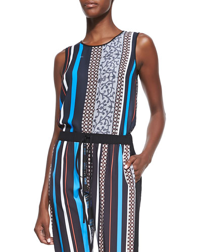 Library Striped Jersey Sleeveless Top