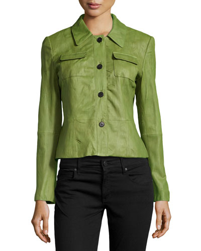 Miriam Crinkled Lambskin Leather Jacket, Chive